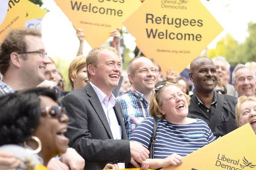 Tim Farron refugee demo