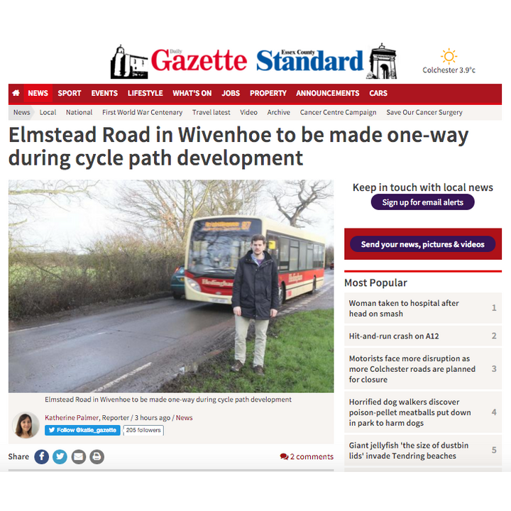Gazette reports Wivenhoe roadworks safety concerns