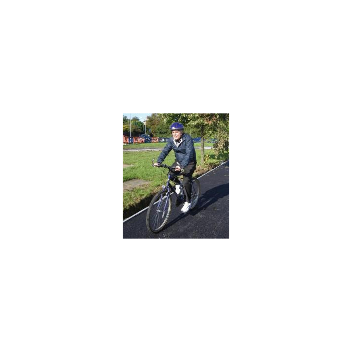 Cllr Mackrory on a bicycle